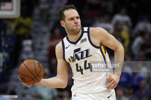Bojan Bogdanovic of the Utah Jazz drives the ball against the New Orleans Pelicans at Smoothie King Center on January 16 2020 in New Orleans...