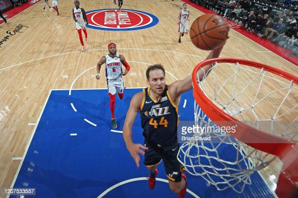 Bojan Bogdanovic of the Utah Jazz drives to the basket during the game against the Denver Nuggets on March 7 2020 at Little Caesars Arena in Detroit...