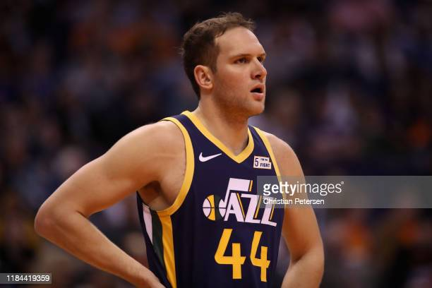 Bojan Bogdanovic of the Utah Jazz during the second half of the NBA game against the Phoenix Suns at Talking Stick Resort Arena on October 28 2019 in...
