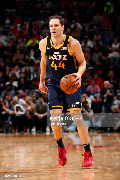 Bojan Bogdanovic of the Utah Jazz handles the ball against the New Orleans Pelicans on January 6 2020 at the Smoothie King Center in New Orleans...