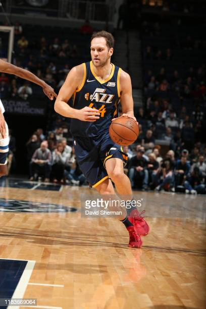 Bojan Bogdanovic of the Utah Jazz handles the ball against the Minnesota Timberwolves on November 20 2019 at Target Center in Minneapolis Minnesota...