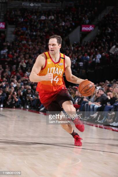 Bojan Bogdanovic of the Utah Jazz handles the ball against the Portland Trail Blazers on February 01 2020 at the Moda Center Arena in Portland Oregon...