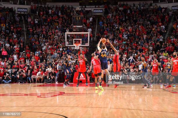 Bojan Bogdanovic of the Utah Jazz makes the game winning three point shot against the Houston Rockets on February 9 2020 at the Toyota Center in...