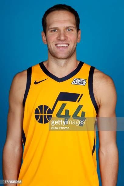Bojan Bogdanovic of the Utah Jazz poses for a head shot during media day on September 30 2019 at vivintSmartHome Arena in Salt Lake City Utah NOTE TO...