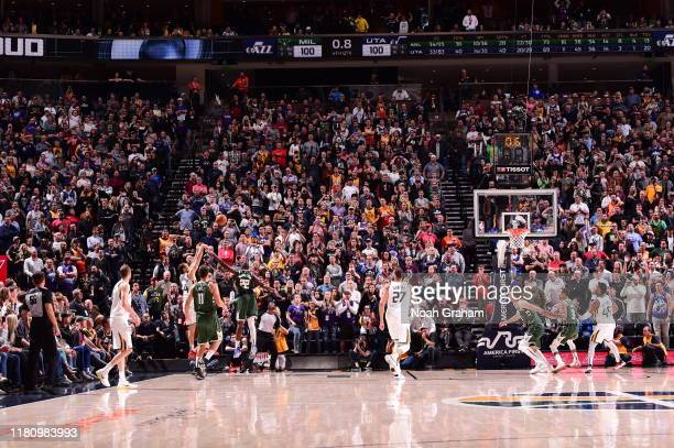 Bojan Bogdanovic of the Utah Jazz shoots a threepointer to win the game against the Milwaukee Bucks on November 8 2019 at Vivint Smart Home Arena in...