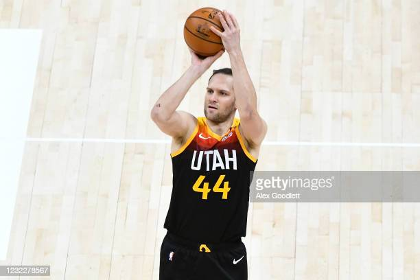 Bojan Bogdanovic of the Utah Jazz shoots during a game against the Washington Wizards at Vivint Smart Home Arena on April 12, 2021 in Salt Lake City,...