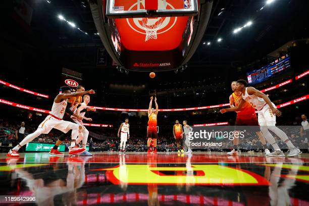 Bojan Bogdanovic of the Utah Jazz shoots from the free throw line during the first half of an NBA game against the Atlanta Hawks at State Farm Arena...