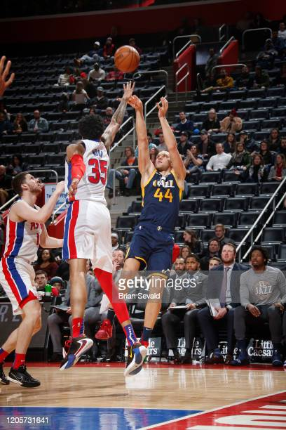 Bojan Bogdanovic of the Utah Jazz shoots the ball against the Detroit Pistons on March 7 2020 at Little Caesars Arena in Detroit Michigan NOTE TO...