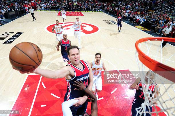 Bojan Bogdanovic of the Washington Wizards goes for a lay up during the game against the Atlanta Hawks in Game Three of the Eastern Conference...