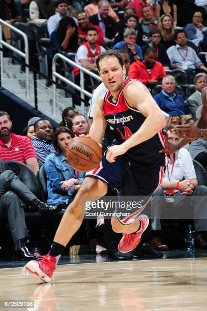 Bojan Bogdanovic of the Washington Wizards handles the ball against the Atlanta Hawks during Game Four of the Eastern Conference Quarterfinals of the...