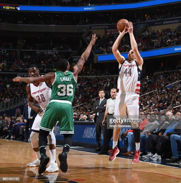 Bojan Bogdanovic of the Washington Wizards shoots the ball against the Boston Celtics during Game Six of the Eastern Conference Semifinals of the...