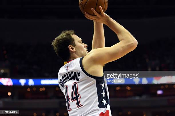 Bojan Bogdanovic of the Washington Wizards shoots the ball in the first quarter against the Boston Celtics in Game Three of the Eastern Conference...