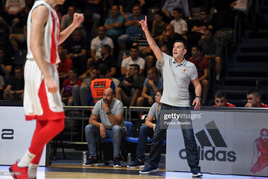 Bojan Djeric, head coach of U18 Crvena Zvezda during the Adidas Next Generation Tournament game between U18 Crvena Zvezda mts Belgrade v U18 Divina Seguros Joventut Badalona at Aleksandar Nikolic Hall on May 17, 2018 in Belgrade, Serbia.