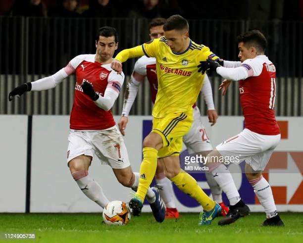 Bojan Dubajic of FC BATE Borisov vies for the ball with Henrikh Mkhitaryan Shkodran Mustafi and Lucas Torreira of Arsenal during the UEFA Europa...