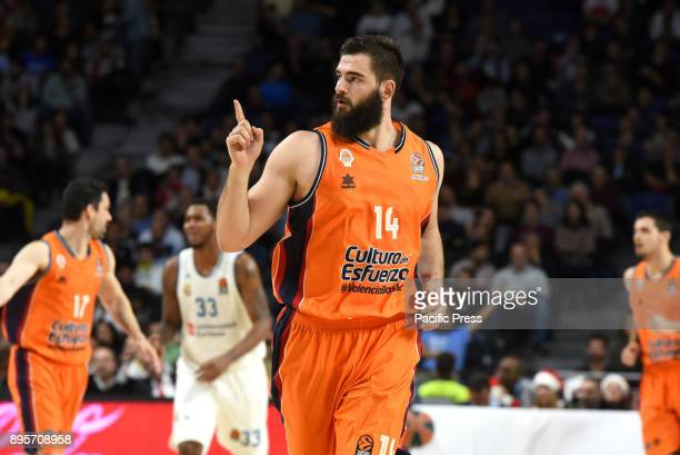 Bojan Dubljevic #14 of Valencia celebrates after scoring three points during the 2017/2018 Turkish Airlines EuroLeague Regular Season Round 13 game...