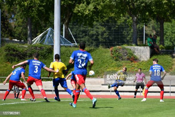 Bojan Gjurčinoski of S.S. Tre Fiori F.C. Has a shot during the UEFA Champions League 2020/21 Preliminary Round Semi-final match between S.S. Tre...