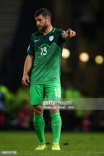 Bojan Jokic of Slovenia during the FIFA 2018 World Cup Qualifier between Scotland and Slovenia at Hampden Park on March 26 2017 in Glasgow Scotland