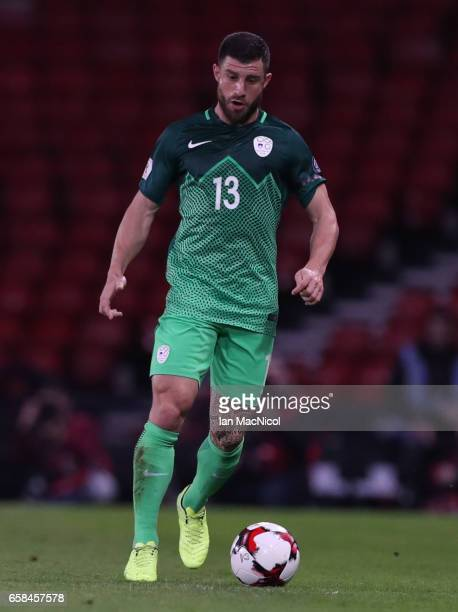 Bojan Jokic of Slovinia is seen during the FIFA 2018 World Cup Qualifier between Scotland and Slovenia at Hampden Park on March 26 2017 in Glasgow...