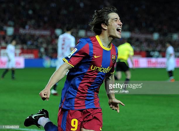 Bojan Krkic of Barcelona celebrates scoring his sides opening goal during the la Liga match between Sevilla and Barcelona at Estadio Ramon Sanchez...
