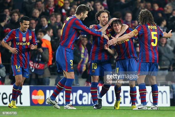 Bojan Krkic of Barcelona celebrates the fourth goal with Gerard Piqué of Barcelona Gabriel Milito and Carles Puyol of Barcelona during the UEFA...
