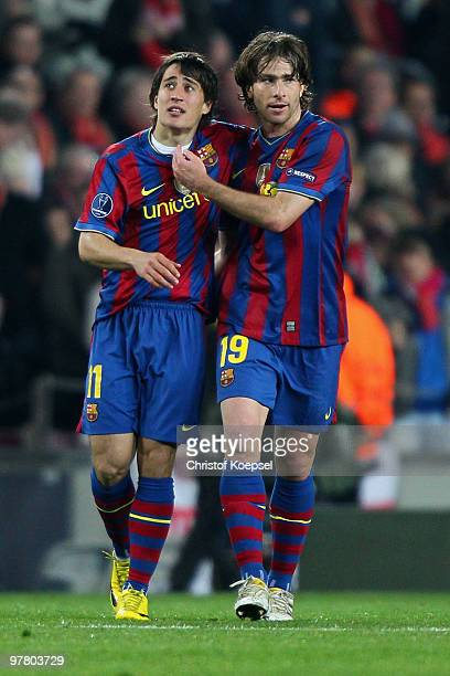 Bojan Krkic of Barcelona celebrates the fourth goal with Maxwell of Barcelona during the UEFA Champions League round of sixteen second leg match...