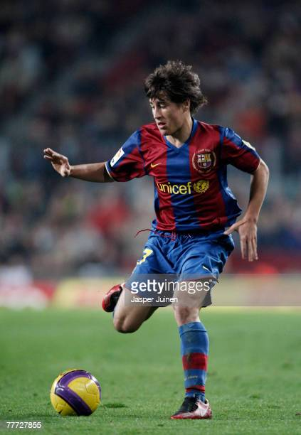 Bojan Krkic of Barcelona controls the ball during the La Liga match between Barcelona and Real Betis at the Camp Nou Stadium on November 4 2007 in...