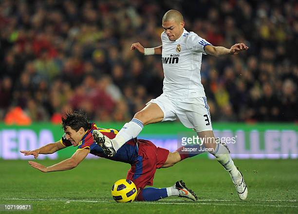 Bojan Krkic of Barcelona fights for the ball with Pepe of Real Madrid during the la liga match between Barcelona and Real Madrid at the Camp Nou...