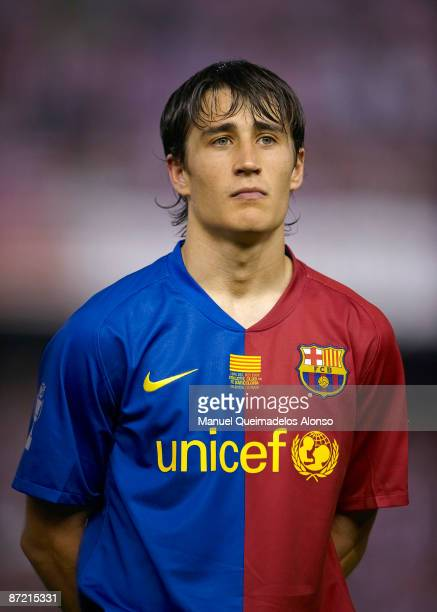 Bojan Krkic of Barcelona looks on before the Copa del Rey final match between Barcelona and Athletic Bilbao at the Mestalla stadium on May 13 2009 in...