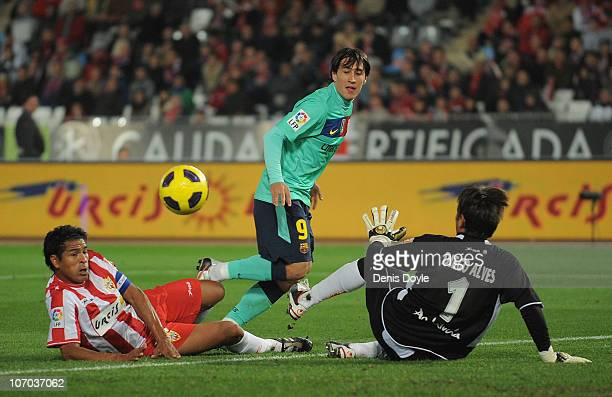 Bojan Krkic of Barcelona scores a goal during the La Liga match between UD Almeria and Barcelona at Estadio del Mediterraneo on November 20 2010 in...