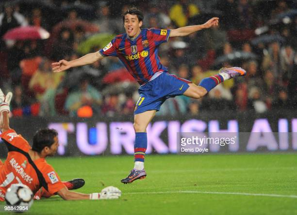 Bojan Krkic of Barcelona scores his team's second goal during the La Liga match between Barcelona and Tenerife at Camp Nou stadium on May 4 2010 in...