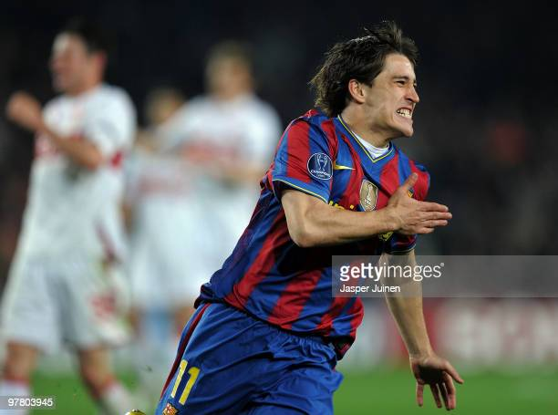 Bojan Krkic of FC Barcelona celebrates scoring his sides fourth goal shortly after coming on as a subsitute during the UEFA Champions League round of...