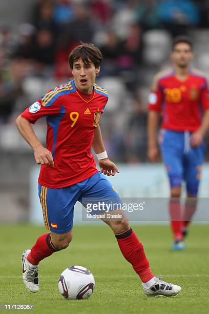 Bojan Krkic of Spain during the UEFA European Under21 Championship semifinal match between Belarus and Spain at the Viborg Stadium on June 22 2011 in...