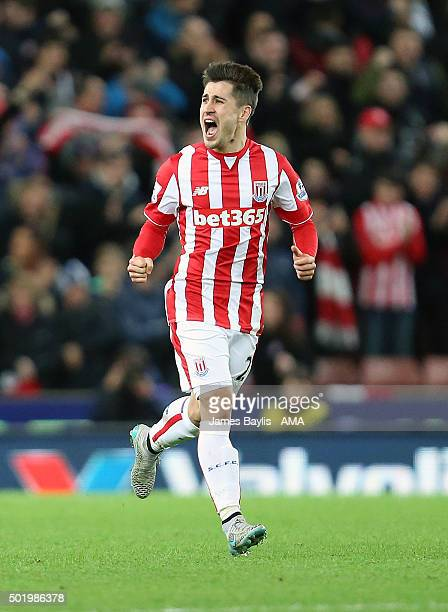 Bojan Krkic of Stoke City celebrates after scoring a goal to make it 11 during the Barclays Premier League match between Stoke City and Crystal...
