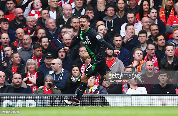 Bojan Krkic of Stoke City celebrates as he scores their first and equalising goal during the Barclays Premier League match between Liverpool and...