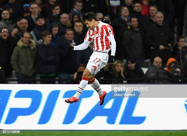 Bojan Krkic of Stoke City celebrates scoring his sides first goal during the Premier League match between West Ham United and Stoke City at Olympic...