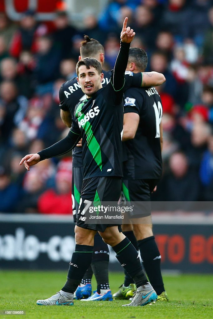Bojan Krkic of Stoke City celebrates scoring his team's first goal with his team mates during the Barclays Premier League match between Southampton and Stoke City at St Mary's Stadium on November 21, 2015 in Southampton, England.