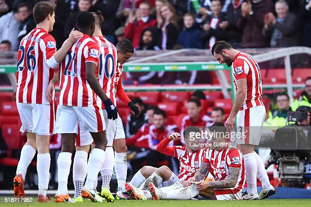 Bojan Krkic of Stoke City celebrates scoring his team's second goal with his team mates during the Barclays Premier League match between Stoke City...