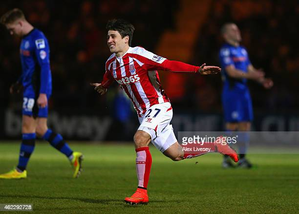 Bojan Krkic of Stoke City celebrates scoring the opening goal during the FA Cup fourth round match between Rochdale and Stoke City at Spotland...