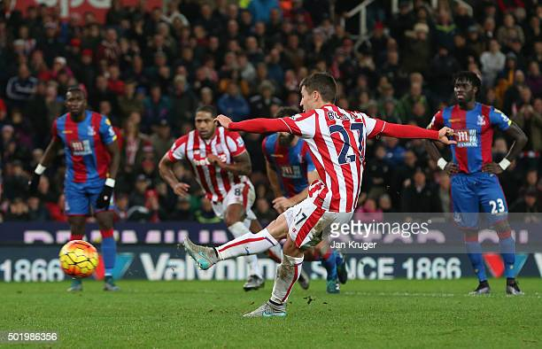 Bojan Krkic of Stoke City converts the penalty to score his team's first goal during the Barclays Premier League match between Stoke City and Crystal...