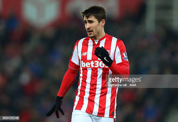 Bojan Krkic of Stoke City during the Barclays Premier League match between Stoke City and Arsenal at the Britannia Stadium on January 17 2016 in...