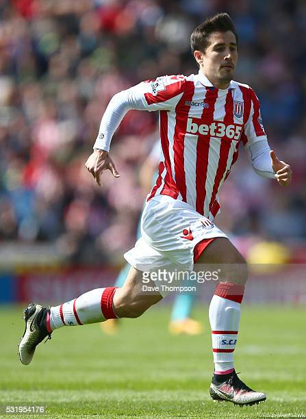 Bojan Krkic of Stoke City during the Barclays Premier League match between Stoke City and West Ham United at the Britannia Stadium on May 15 2016 in...