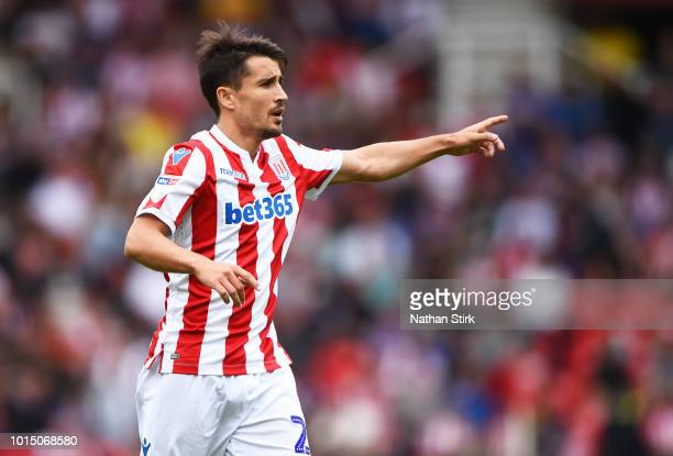 Bojan Krkic of Stoke City gives his team mates instructions during the Sky Bet Championship match between Stoke City and Brentford at Bet365 Stadium...