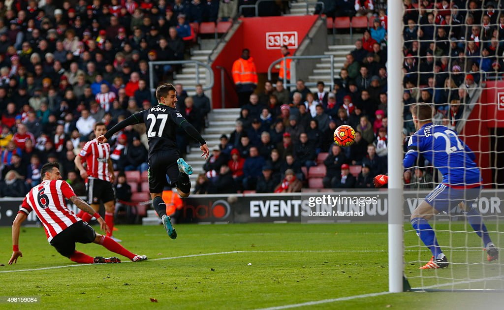 Bojan Krkic of Stoke City scores his team's first goal during the Barclays Premier League match between Southampton and Stoke City at St Mary's Stadium on November 21, 2015 in Southampton, England.