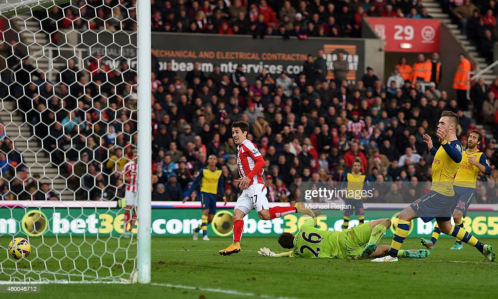 Bojan Krkic of Stoke City scores his team's second goal during the Barclays Premier League match between Stoke City and Arsenal at the Britannia Stadium on December 6, 2014 in Stoke on Trent, England.