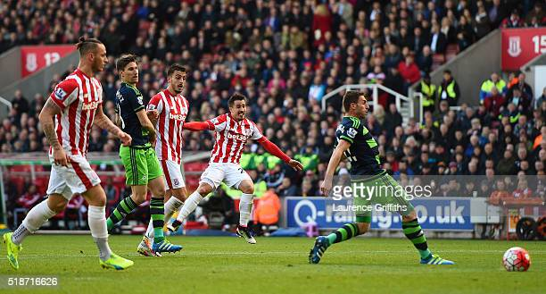 Bojan Krkic of Stoke City scores his team's second goal during the Barclays Premier League match between Stoke City and Swansea City at Britannia...