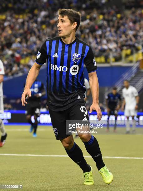 Bojan Krkic of the Montreal Impact runs against New England Revolution in the second half during the MLS game at Olympic Stadium on February 29 2020...