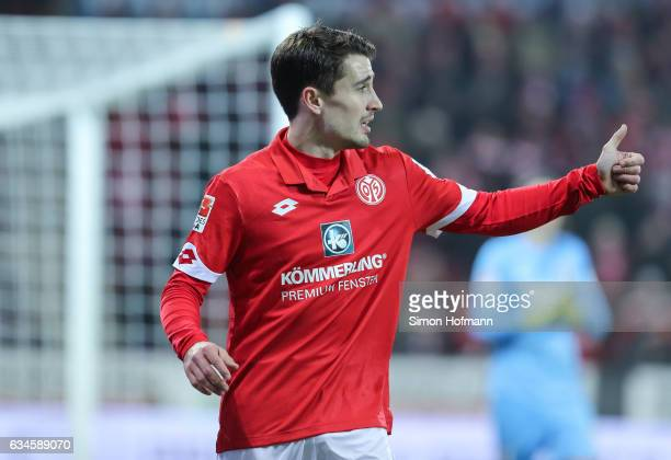 Bojan Krkic Perez of Mainz gestures during the Bundesliga match between 1 FSV Mainz 05 and FC Augsburg at Opel Arena on February 10 2017 in Mainz...
