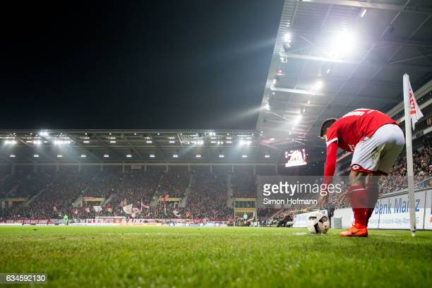 Bojan Krkic takes a corner kick during the Bundesliga match between 1 FSV Mainz 05 and FC Augsburg at Opel Arena on February 10 2017 in Mainz Germany