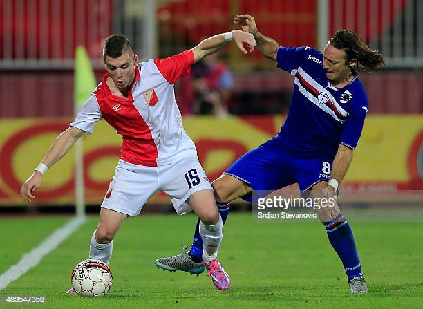 Bojan Nastic of Vojvodina Novi Sad in action against Edgar Barreto of Sampdoria during the UEFA Europa League Third Qualifying Round 2nd Leg match...