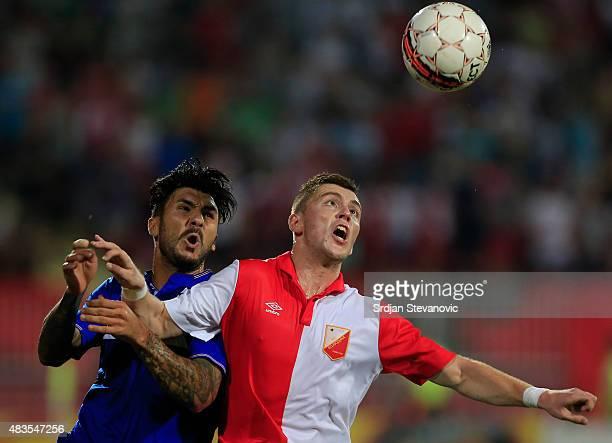 Bojan Nastic of Vojvodina Novi Sad in action against Roberto Soriano of Sampdoria during the UEFA Europa League Third Qualifying Round 2nd Leg match...